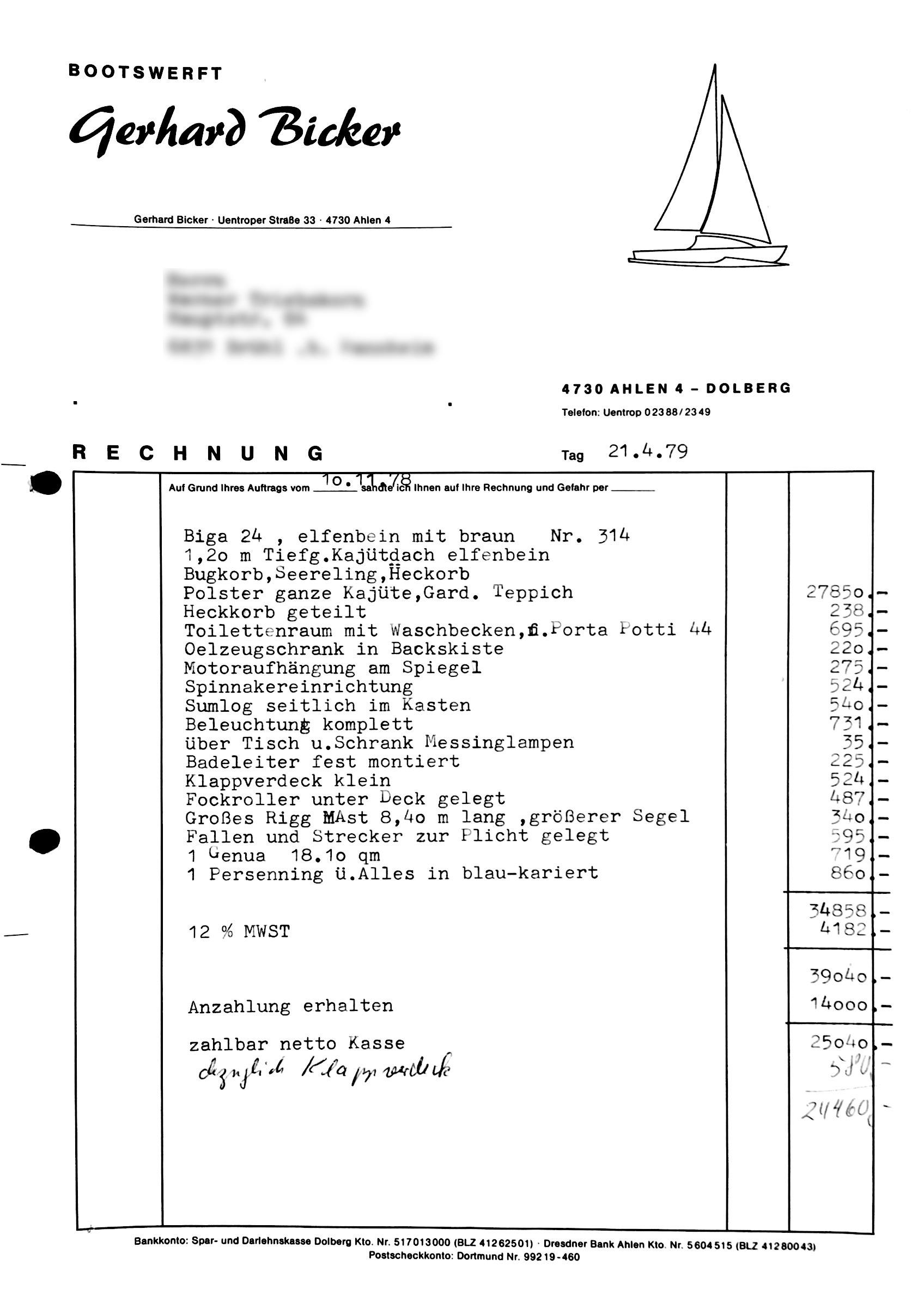 biga 24 rechnung von 1979 ohne adresse sy fofftein. Black Bedroom Furniture Sets. Home Design Ideas